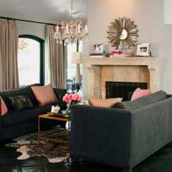Living Room Color Schemes Black Leather Couch Wall Gallery Ideas 15 Modern Interior Decorating Blending Gray And Pink ...