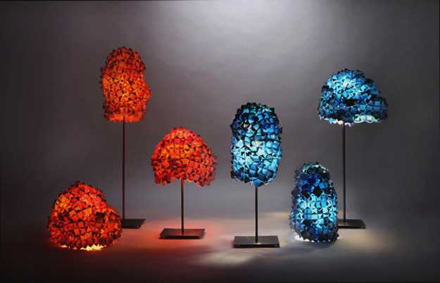 Living Pixels Lighting Fixtures Reuse And Recycle Banners And Vintage Lamp Stands