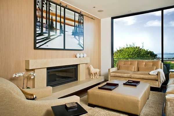 hiding tv in living room open plan kitchen and decorating ideas 21 modern interior design for displaying your flat decorative covers with artwork a fireplace panel