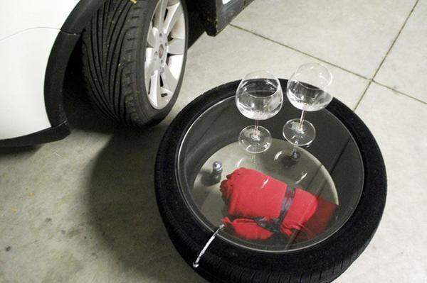 Recycling Used Car Tires for Plexiglass Top Coffee Tables