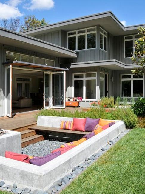 outdoor rooms with sunken and raised