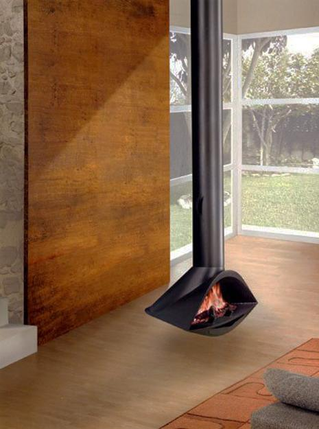 25 Hanging Fireplaces Adding Chic to Contemporary Interior