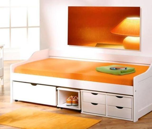 Contemporary White Bed With Drawers For Teenage Bedroom Design