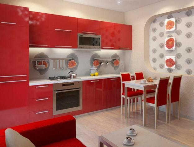 Bright Interior Decorating with Red Poppy Floral Designs