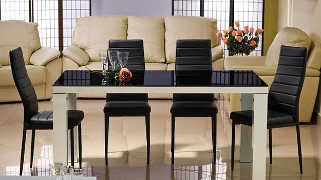black glass living room furniture safari themed decor top tables magnifying beautiful dining design table and upholstered chairs