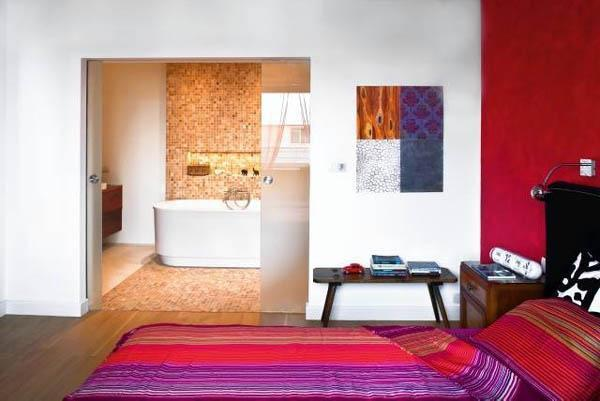 Glass Partition Wall Design Ideas and Room Dividers Separating Modern Bedrooms from Bathrooms