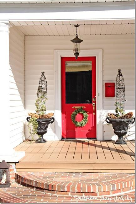Front Door Decoration With Red Colors 22 House Exterior