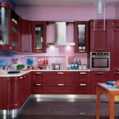 Making A Kitchen Island From Cabinets Flooring Home Depot Purple And Pink Colors Adding Retro Vibe To Modern ...