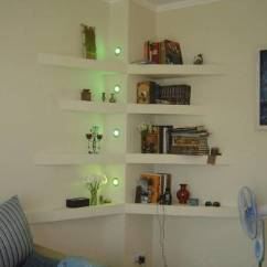 Modern Corner Shelves For Living Room White Rooms With Brown Leather Sofas 25 Space Saving Interior Design Ideas And Wall Lights