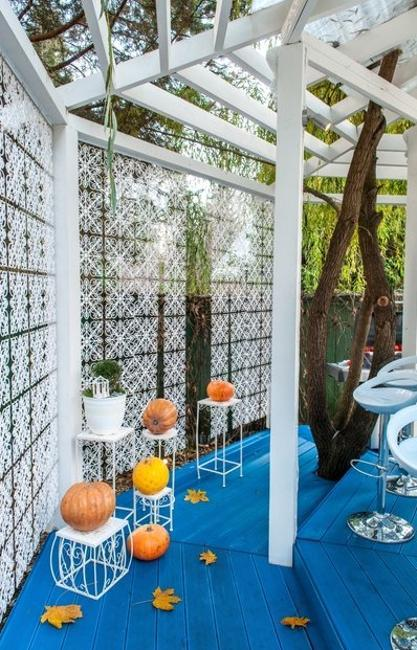 Turquoise Blue And White Decorating Ideas For Gazebo In