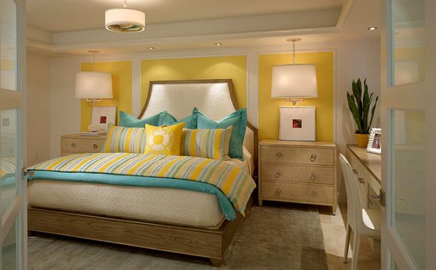 Soft wispy grey & yellow go perfectly together for a bright and fresh bedroom. Trendy Color Combinations for Modern Interior Design in