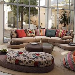 Modern Living Room Couches Curtain Fabric 20 Designs With Stylish Curved Sofas Colorful Sofa And Ottomans Decorating Pillows In Various Colors