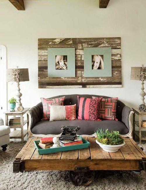 diy pallet living room furniture yellow and grey rugs design ideas recycling wood pallets reclaimed wall panel with photographs salvaged coffee table green for decorating