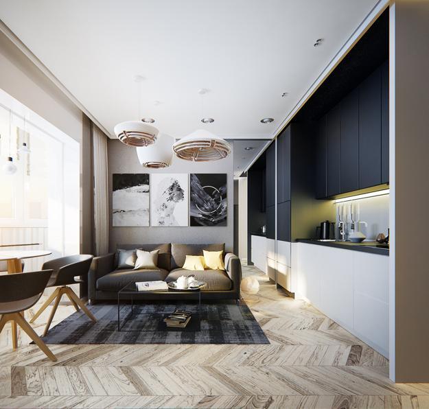 Modern Apartment Ideas Single Person Studio Design with Bright Accents