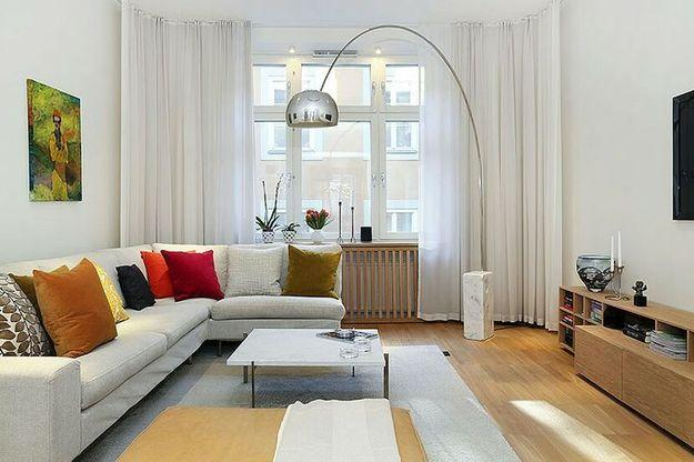 interior design small living room apartment rooms for less modern 15 space saving studio corner sofa and arco floor lamp spaces