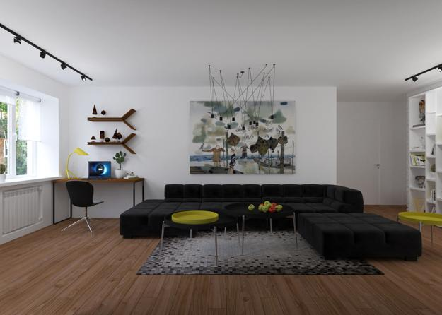 Neutral Colors And Yellow Color Accents For Modern Interior Decorating With Masculine Vibe