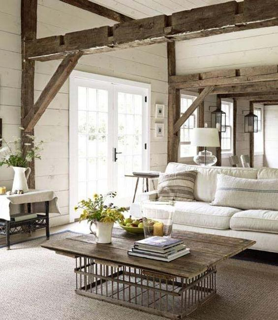 country home decorating ideas living room red flowers for best interior design materials style 22 modern with salvaged wood beams