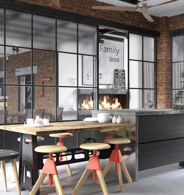 Contemporary Kitchen Design and Living Area in Loft Style
