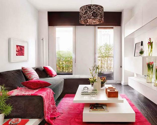 interior decoration ideas for small living room ashley rooms simple modern to fool the eyes sofa slipcover in bright pink color white decorating