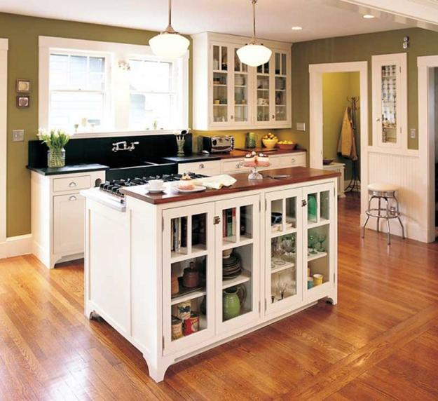 small island for kitchen red backsplash 21 space saving alternatives kitchens with storage shelves and glass doors