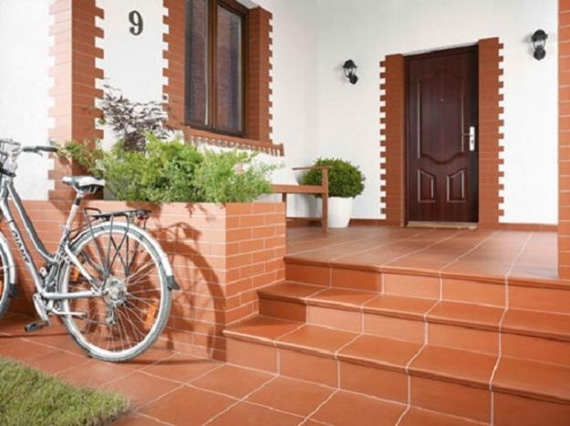 Building Exterior Stairs With Classy Bricks And Modern Tiles | Stairs Wall Tiles Design | Main Entrance Wall Tile | Exterior | Two Story House Stair | Wall Flat | Residential