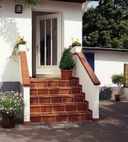 Building Exterior Stairs with Classy Bricks and Modern Tiles