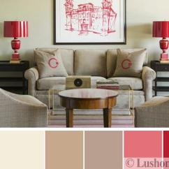 Beige Color Palette Living Room Storage Bench Uk Modern Interior Design Schemes And Red Colors Of Furniture In Gray Table Lamps Wall Art