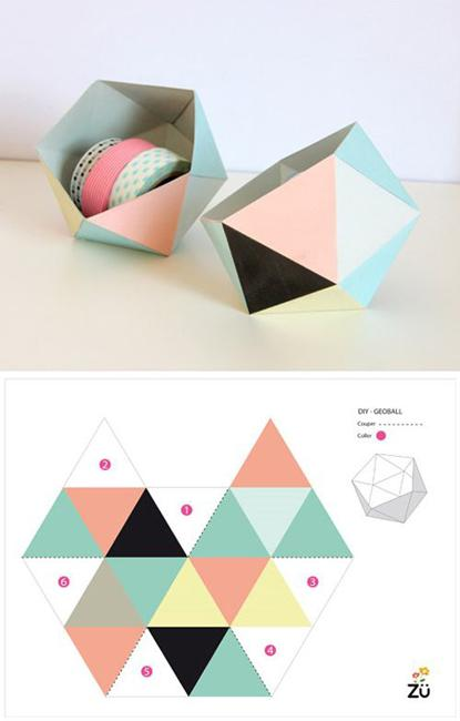 Recycling Paper For Colorful GeoBall Organizers Handmade