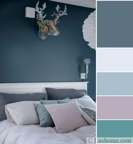purple and gray bedroom color scheme Bluish Gray and White Decorating Ideas Soften and Styled