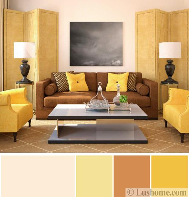 yellow and brown living room decorating ideas wall tiles design for philippines sunny colors inspired by delicious healthy with cream walls chairs pillows