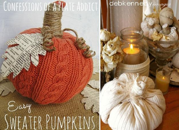 Recycling Old Clothes and Fabrics for Handmade Pumpkins Cheap Fall Decorations