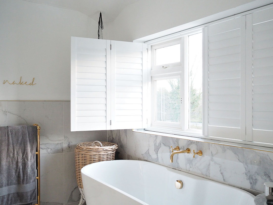 White DIY Window Shutters Bathroom