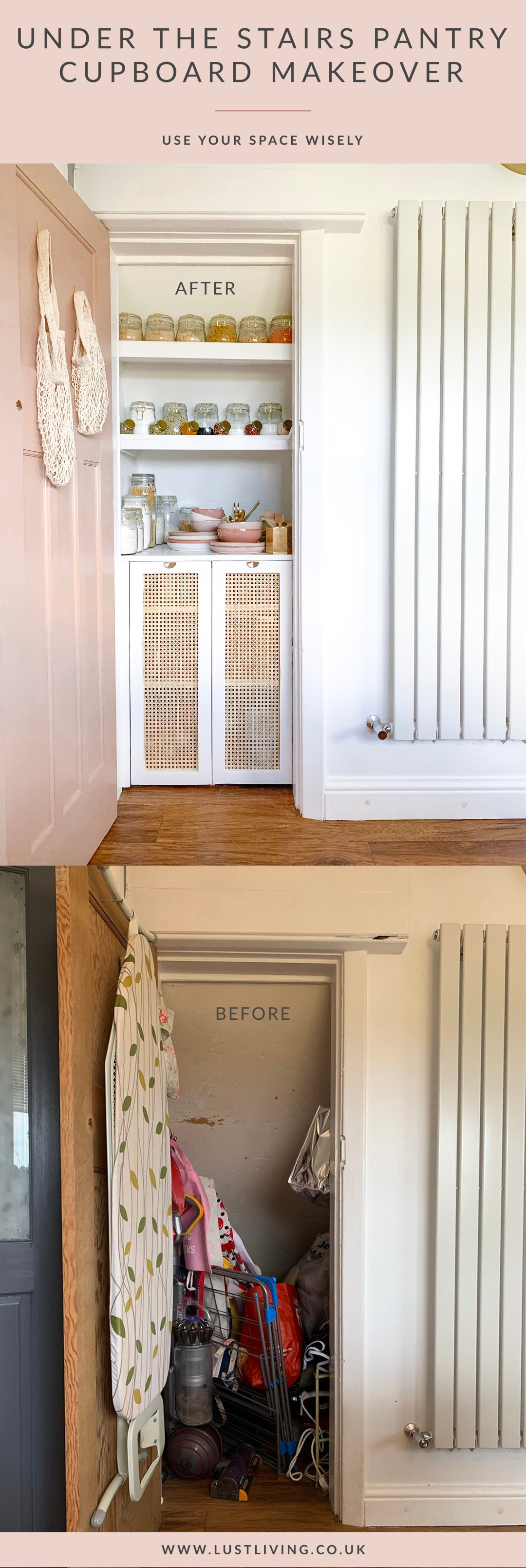 Under the Stairs Pantry Cupboard DIY Makeover Before & After