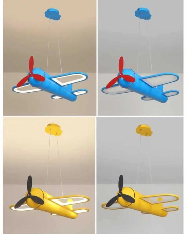 Lustre avion bleu et jaune