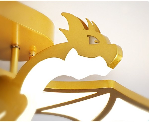 plafonnier dragon jaune gros zoom sur sa tête