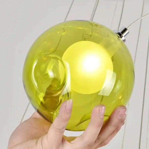 Lustre boule jaune