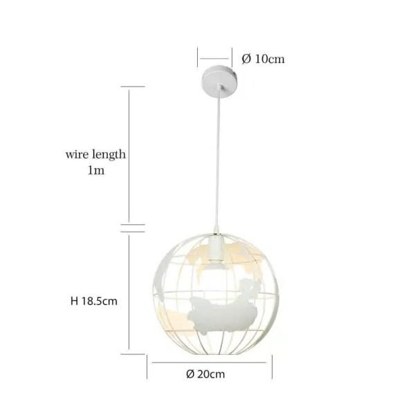 Lustre globe terrestre blanc dimension 20 cm