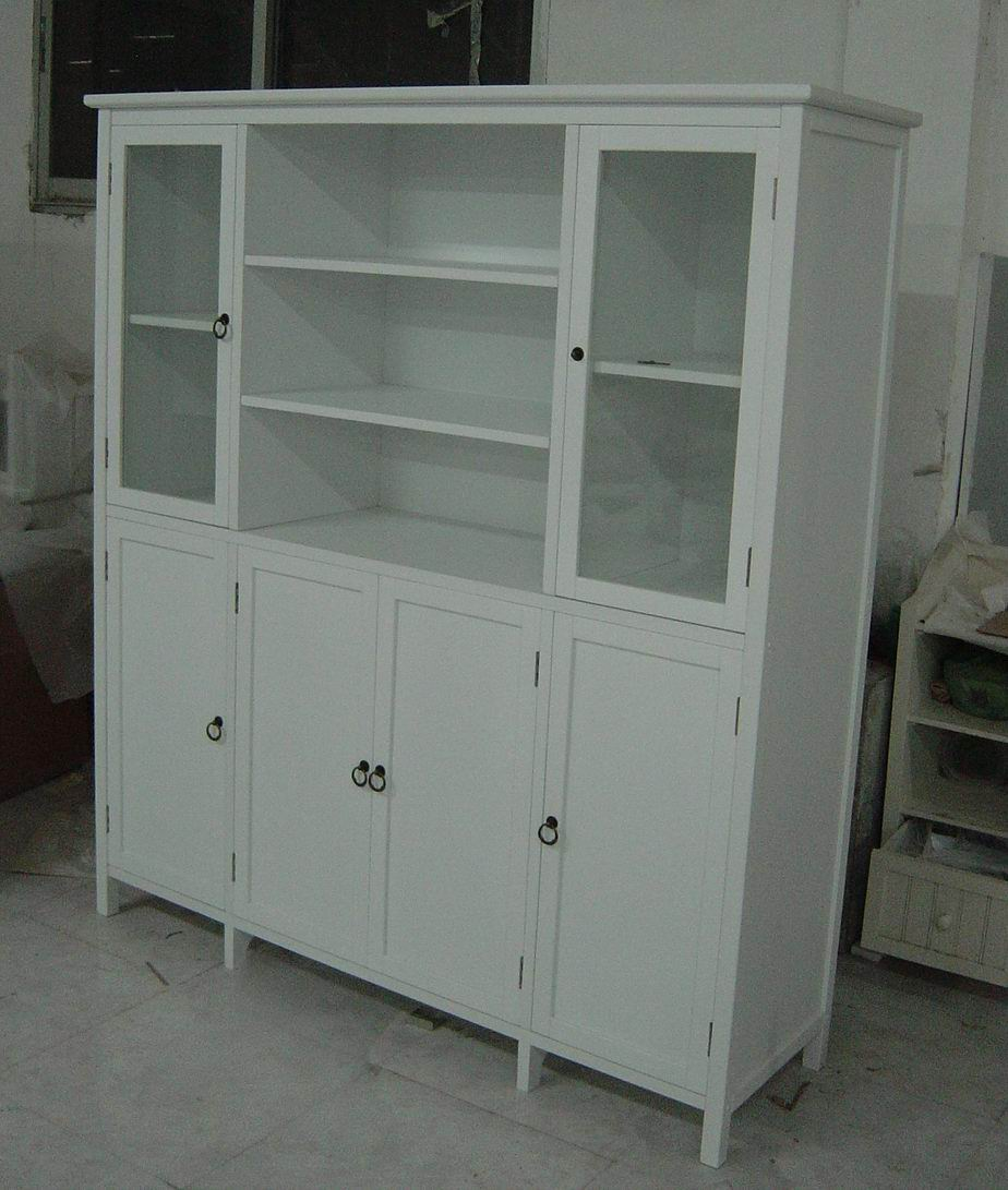 Antique White Cupboard Hutch And Buffet Jointed With 4 Wood