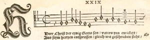 "The opening of ""Herr Christ"" in Johann Walther's Geystliche gesangk Buchleyn has a quarter-note pickup. The half– and quarter-note rests preceding the pickup indicate that Walther viewed all together as one measure of four beats."