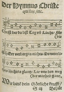 The hymn as it appears in Joseph Klug's hymnal, with the simplified melody