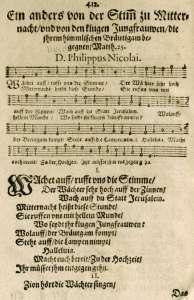 """""""Wachet auf"""" as it first appeared in Philipp Nicolai's devotional book, Frewdenspiegel deß ewigen Lebens"""