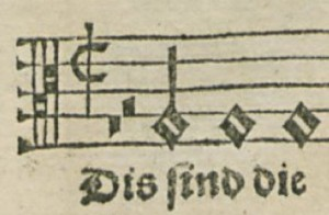 "The opening of ""These Are the Holy Ten Commands."" The hymn is in cut time. The two rests, semibreve and minim in value, when added to the minim pickup note, come to one breve, which I identify with one measure. The rests are not necessary for performance. I therefore take them as giving the singer a sense of where the pickup note falls in the metrical structure."