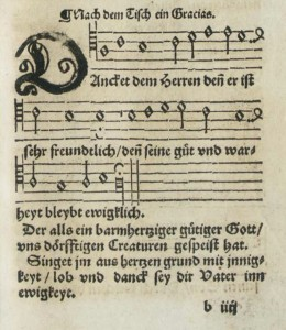 """Danket dem Herren denn er ist sehr freundlich"" as it first appeared in the 1544 hymnal of the Bohemian Brethren"