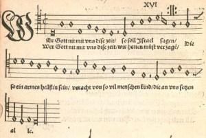 """""""Wär Gott nicht mit uns (1537)"""" as it first appeared in Johann Walter's """"Wittenbergisch Gsangbüchli,"""" 1537, No. 16."""