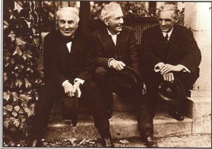 Photo of Thomas Edison, Luther Burbank & Henry Ford, 1915