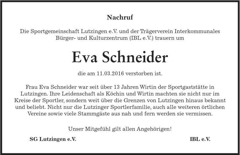 Nachruf Eva Schneider DZ