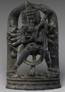 Twelve-Armed Chakrasamvara and His Consort Vajravarahi India, west Bengal or Bangladesh, ca. 12th century Phyllite H. 5 in. (12.7 cm); W. 3 1/8 in. (7.9 cm); D. 1 1/2 in. (3.8 cm) Gift of Mr. and Mrs. Perry J. Lewis, 1988 Photo: courtesy of The Metropolitan Museum of Art