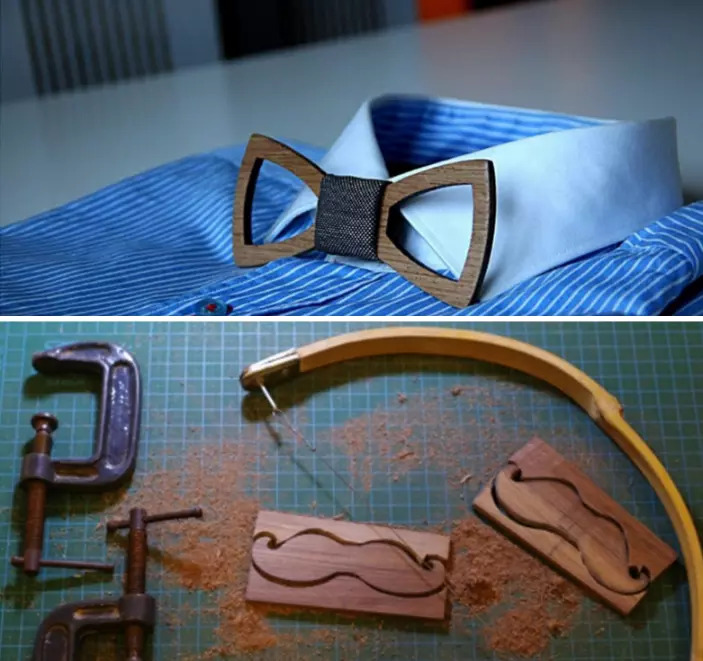 Precious wooden bow tie unique piece made by hand palissandre