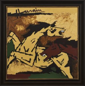 M.F.7 Husain, Untitled (Horses), acrylic on canvas, 36 x 36 inches, 2003