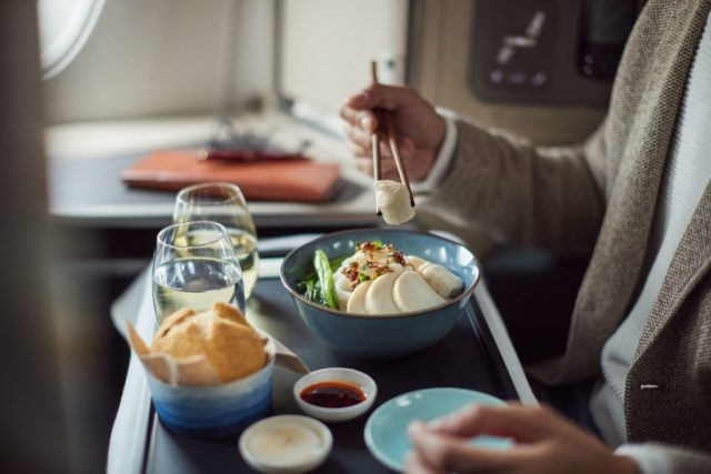 In-flight meal in Cathay Pacific's Business Class
